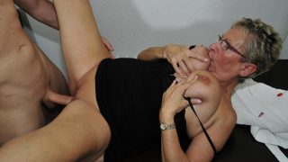Angelika J. Cowgirl Busty German granny Angelika J. gets fucked on the kitchen table